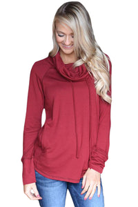 Chicloth Burgundy Drawstring Cowl Neck Sweatshirt