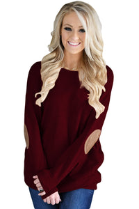 Chicloth Burgundy Elbow Patch Sweatshirt