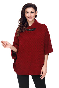 Chicloth Burgundy High Neck Waffle Knit Poncho-Women's Clothes||Sweaters & Cardigans-Chicloth
