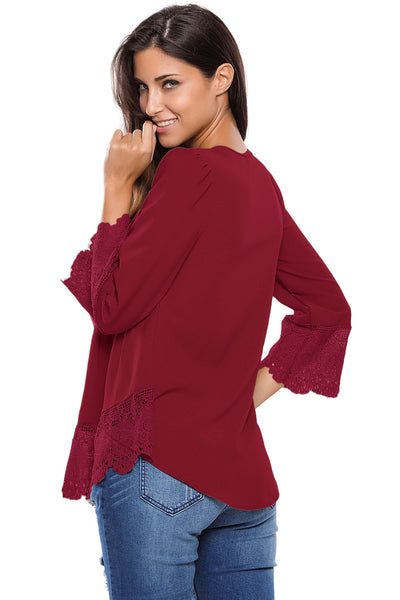 Chicloth Burgundy Lace Detail Button Up Sleeved Blouse-Blouse-Chicloth
