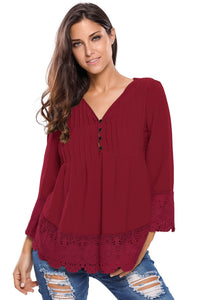 Chicloth Burgundy Lace Detail Button Up Sleeved Blouse