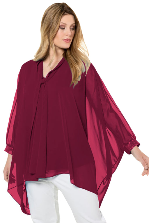A| Chicloth Burgundy Long Sleeve Chiffon Overlay Plus Size Blouse-Plus Size Tops-Chicloth