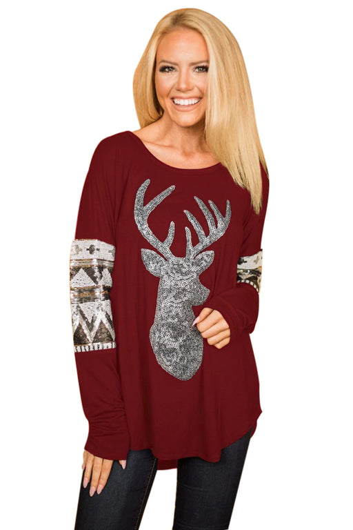 Chicloth Burgundy Loose Sequin Christmas Reindeer Top-Women's Clothes||Blouses & Tops-Chicloth
