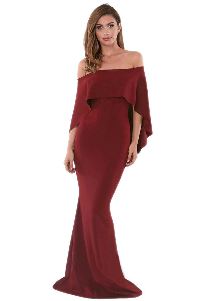 C| Chicloth Burgundy Off Shoulder Poncho Gown Mermaid Dress-Chicloth