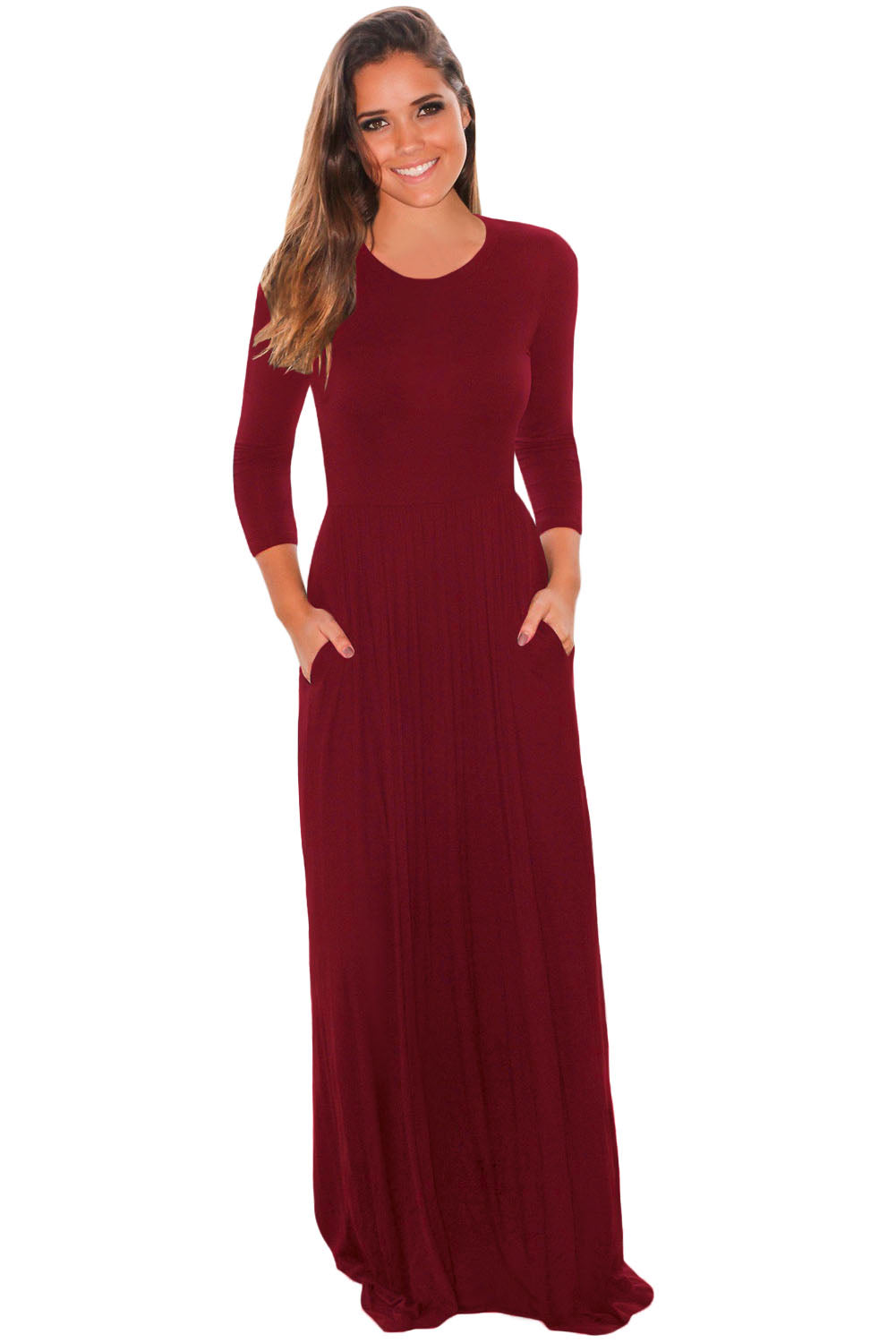 Chicloth Burgundy Pocket Design 3/4 Sleeves Maxi Dress