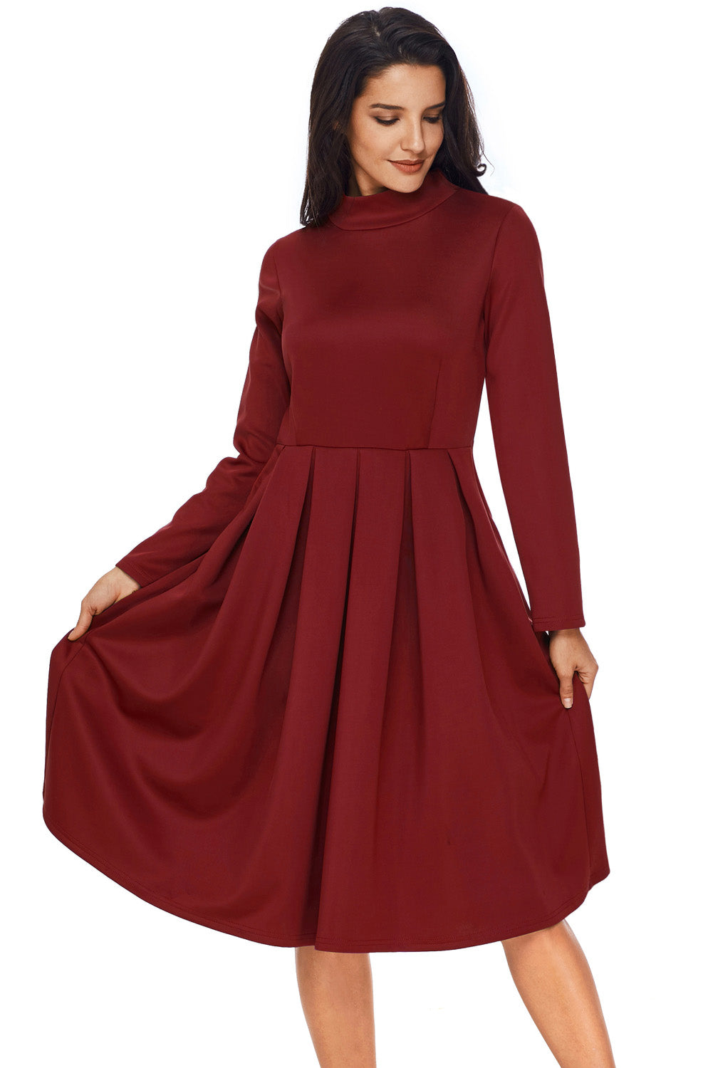 Chicloth Burgundy Pocket Style High Neck Skater Dress