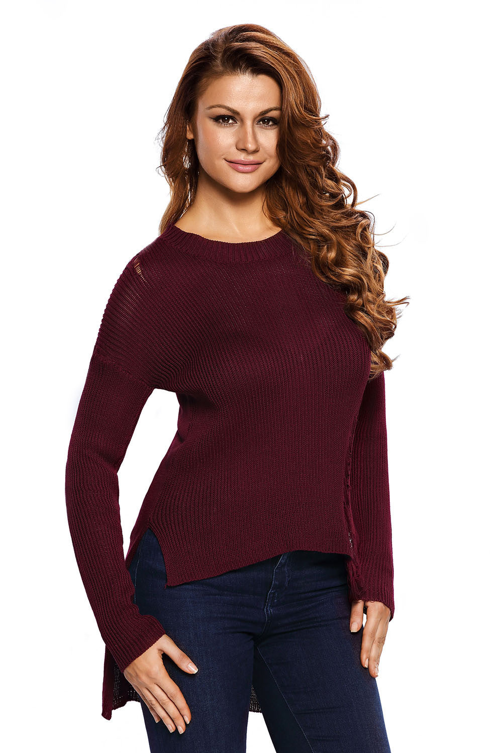 Chicloth Burgundy Sheer Knit Tangled Long Tail Sweater-Sweater-Chicloth