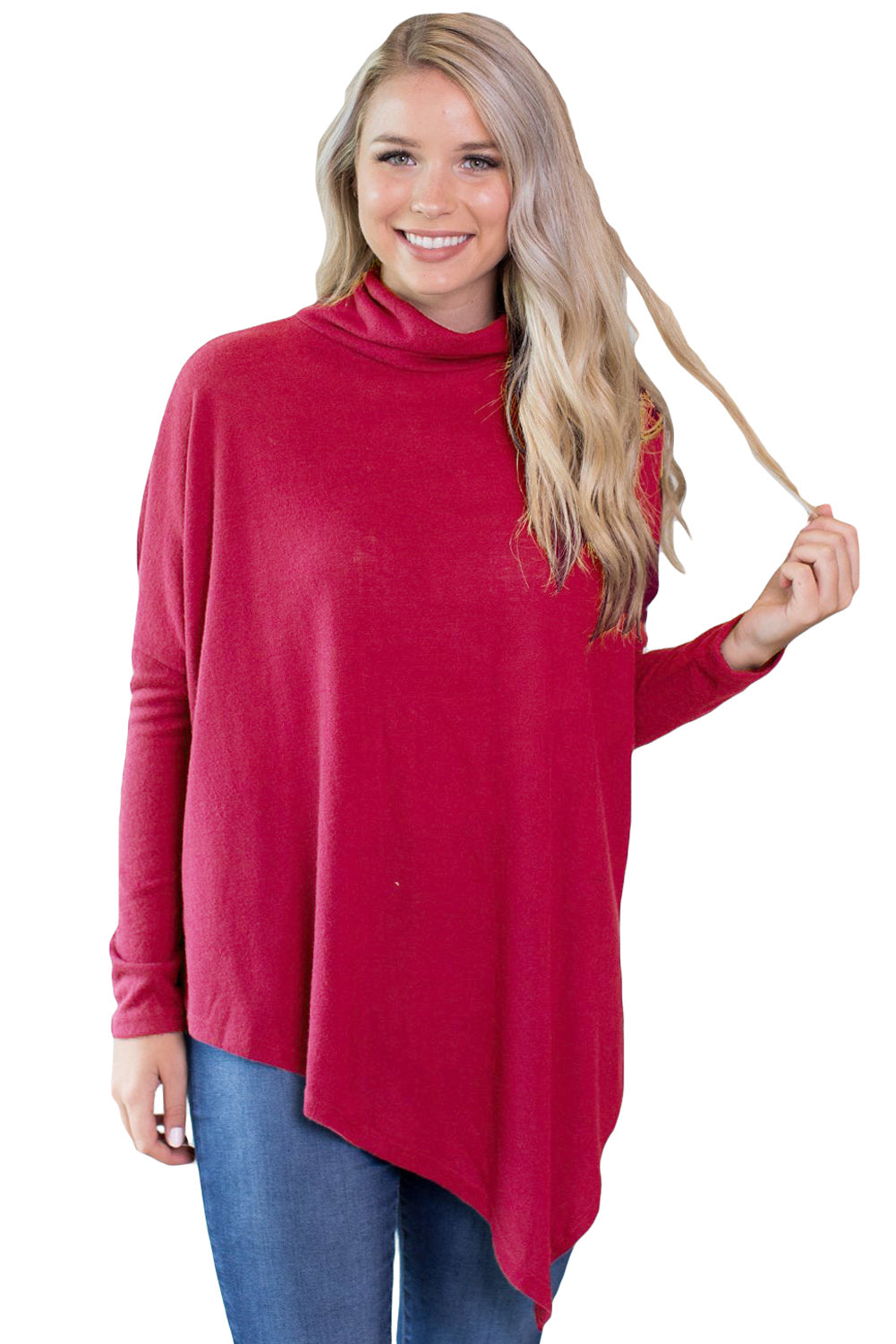 Chicloth Burgundy Soft Faux Poncho High Neck Sweater