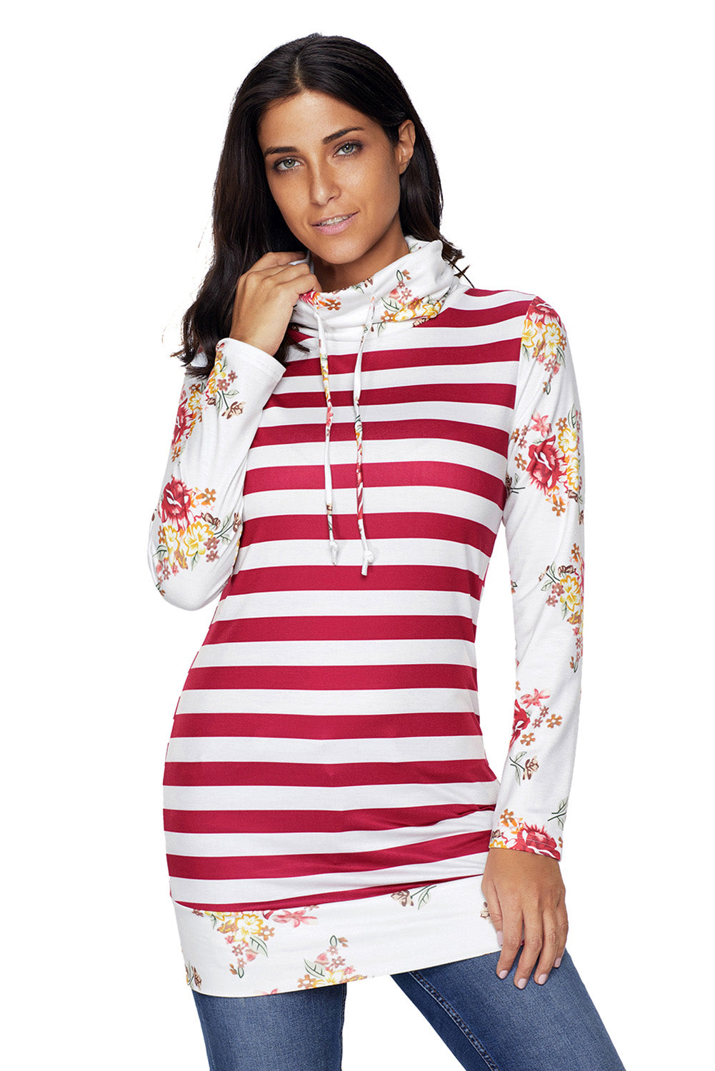 Chicloth Burgundy Striped and Floral Sweatshirt