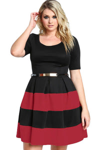 Chicloth Burgundy Stripes Detail Belted Plus Size Skater Dress