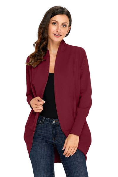 A| Chicloth Burgundy Super Soft Long Sleeve Open Cardigan-Sweaters-Chicloth