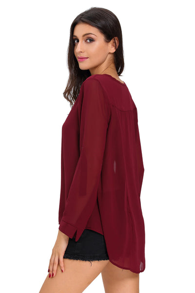 Chicloth Burgundy V-Neck Button Detail Dip Back Blouse Top