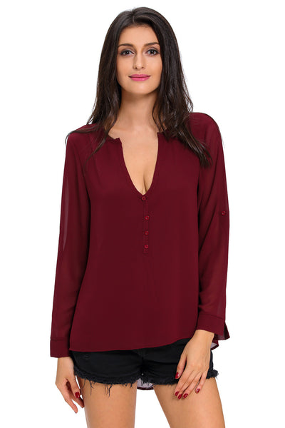 Chicloth Burgundy V-Neck Button Detail Dip Back Blouse Top-Blouse-Chicloth