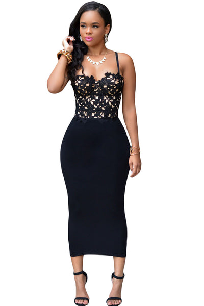 Chicloth Bustier Lace Top Black Bodycon Dress