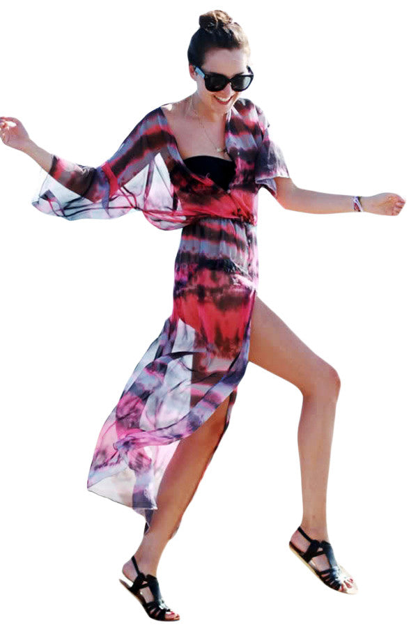Chicloth Buttons and Slit Front Open Tie-dye Print Chiffon Beachwear