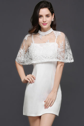 Chicloth See-through White Homecoming Dress