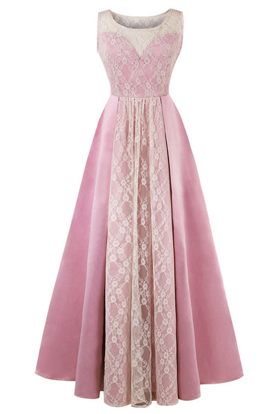 A| Chicloth 2018 New Scoop Neck Lace Pink Evening Dress - Chicloth