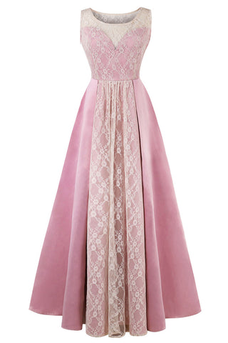 A| Chicloth 2018 New Scoop Neck Lace Pink Evening Dress-Chicloth