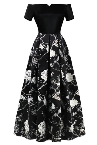 A| Chicloth Black Evening Dress Cheap Off The Shoulder Evening Dress - Chicloth