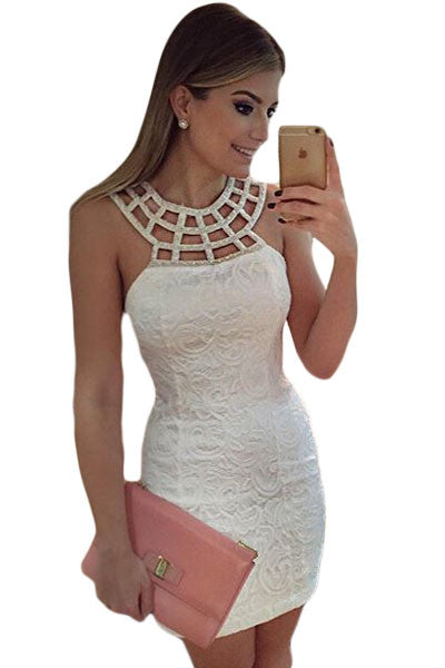 Chicloth Caged Round Neck White Lace Mini Dress-Mini Dresses-Chicloth