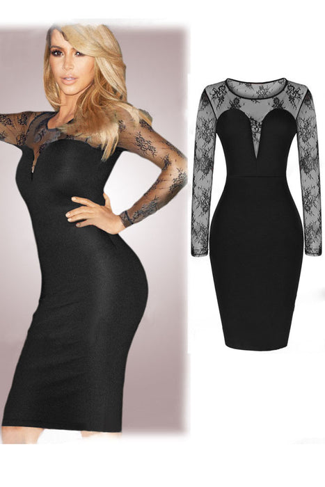 Chicloth Celebrity Mesh Long Sleeve Midi Party Bodycon Dress-Chicloth