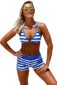 Chicloth Chambray Cottage Halter Bikini Boyshort Set - Chicloth