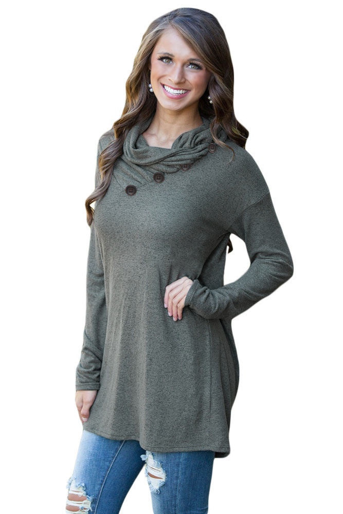 Chicloth Charcoal Buttoned Cowl Neck Long Top