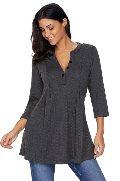 Chicloth Charcoal Cable Knit Button Neck Swingy Tunic