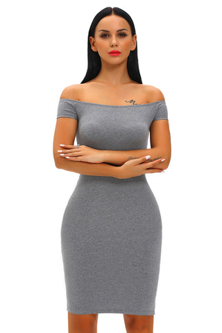 Chicloth Charcoal Crisscross Off Shoulder Bodycon Dress
