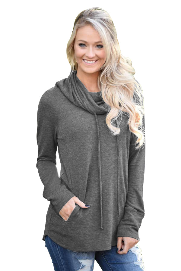 Chicloth Charcoal Drawstring Cowl Neck Sweatshirt - 2XL / Charcoal