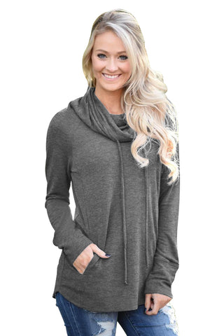 Chicloth Charcoal Drawstring Cowl Neck Sweatshirt