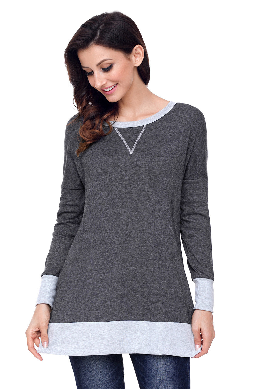 Chicloth Charcoal Side Pocket Elbow Patch Colorblock Tunic - XL / Charcoal