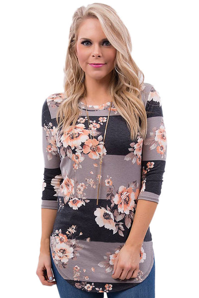 Chicloth Charcoal Taupe Bold Stripe Light Floral Shirt