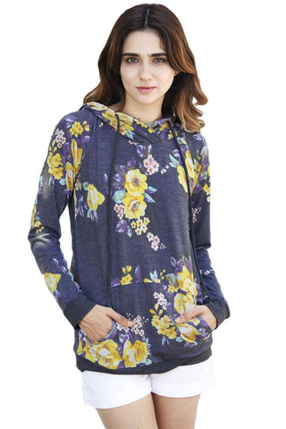 Chicloth Charcoal Yellow Floral Drawstring Hoodie