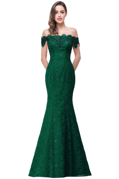A| Chicloth Mermaid Off Shoulder Floor-Length Lace Bridesmaid Dresses(In Stock)-Evening Dresses-Chicloth