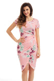 Chicloth Chic Knot Side Wrapped Blush Floral Dress
