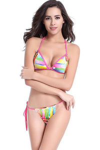 Chicloth Color of the Rainbow Halter String Bikini - Chicloth