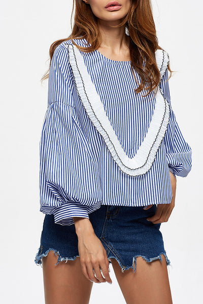Chicloth Every heart sings a song Striped Blouse-Tops-Chicloth
