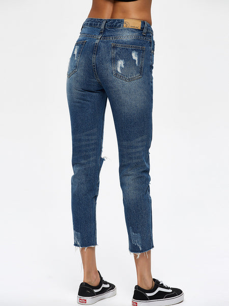 Chicloth Middle Waist Raw Hem Jean-Jeans-Chicloth