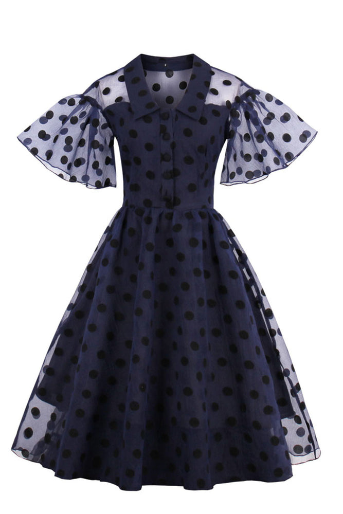 Chicloth Midnight Blue Polka Dot Tulle Party Dress-Dresses-Chicloth