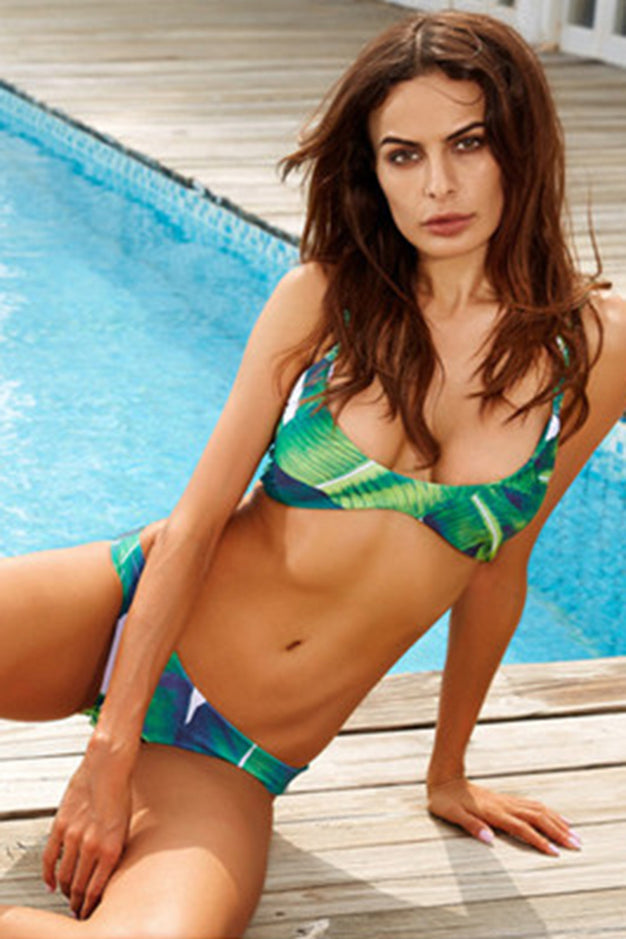 Chicloth - Chicloth Palm Tree Leaves Print Sexy Bikini Set