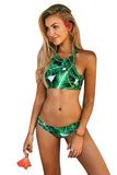 Chicloth Palm Tree Leaves Tank Bikini Set