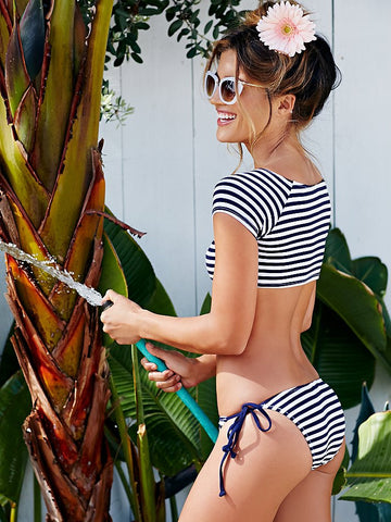 Chicloth Sailor in the U. S. Navy Striped Bikini Set