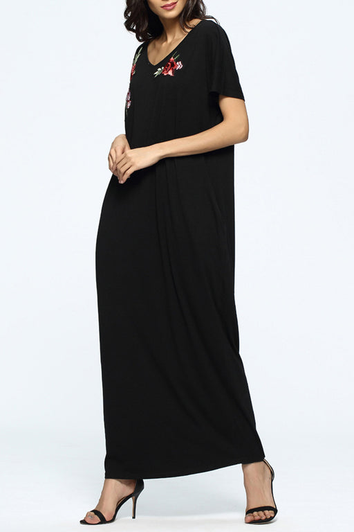 Chicloth Santa Monica Embroidered Black Top-Chicloth