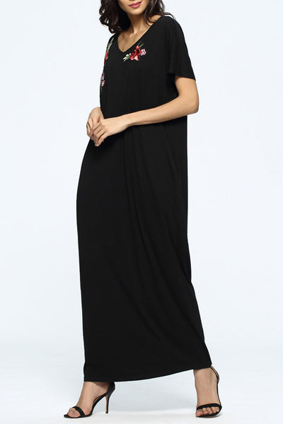 Chicloth Santa Monica Embroidered Black Top