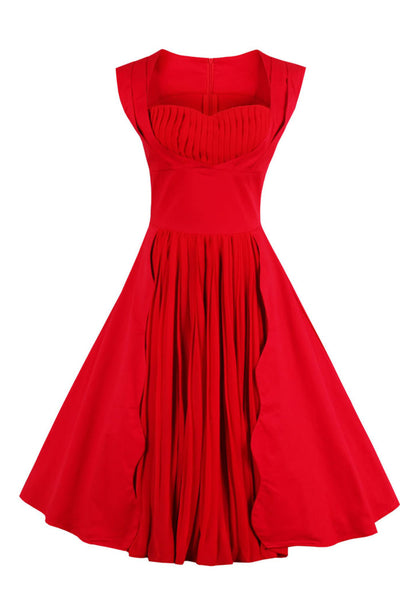 Chicloth Season In The Sun Red Pleats Princess Dress-Dresses-Chicloth