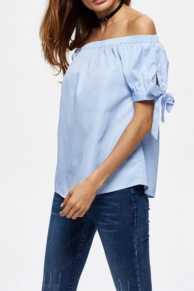 A| Chicloth Smiling into your eyes Blue Blouse-Tops-Chicloth