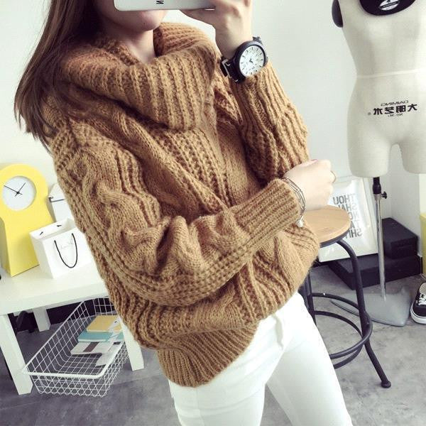A| Chicloth Stay In Warm Knit Sweater-Chicloth