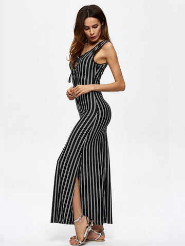 Chicloth Touch My Body Long Striped Dress