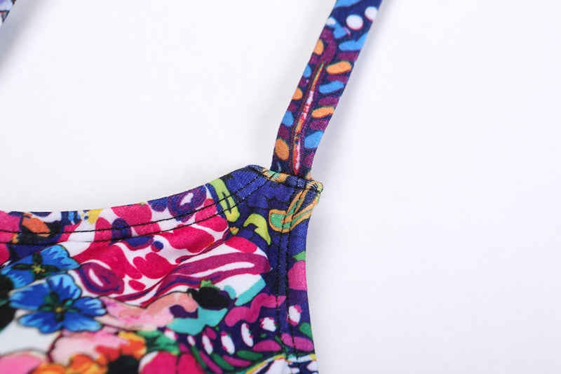Chicloth Try To Remember One shoulder Floral Bikini-swimwear-Chicloth